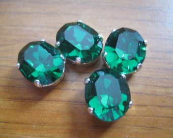 Lot of 4 12x10mm Emerald Faceted Oval Swarovski Sew on Rhinestones in Silver Plated Settings