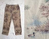 vintage c. 1980s Ralph Lauren duck hunt print jeans, womens size 10 - 12, l