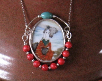"Vintage Broken China Ceramic Shard Necklace, Sterling Silver, Stone & Silver Beads, ""Japanese Geisha"""