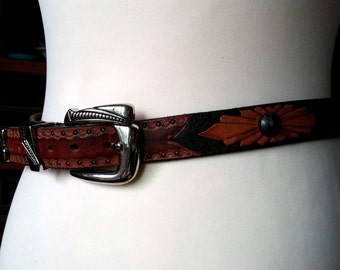 Two Toned Tooled Leather Belt with Round Studs