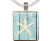 Scrabble Pendant, Scrabble Necklace, Beach Necklace, Starfish Necklace, Beach Jewelry, Pencil Starfish, Gift for Her (Starfish on Blue)
