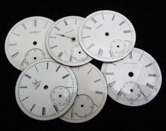 Steampunk Watch Dials Vintage Antique Faces Parts Enamel Porcelain Metal Mixed Media   GB 28