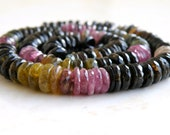 Tourmaline Gemstone Tyre Tire Faceted Heishi Multi 8mm 75 beads 1/2 strand Wholesale