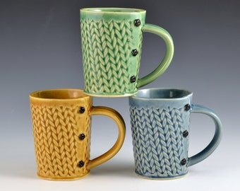 Medium Tea Cup Mug Green Knitted Pattern, tea cup, tea mug, Buttons MADE TO ORDER