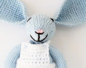 Knitted bunny rabbit soft toy, new baby toy, baby boy, knitted toys, baby boy gift, baby toys, hand knitted toys, soft toys