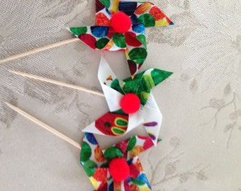 The Hungry Caterpillar - Pinwheel Cupcake Flags - 12 Toppers
