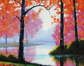 Red AUTUMN OIL PAINTING  fall trees River impressionism  Art Deco