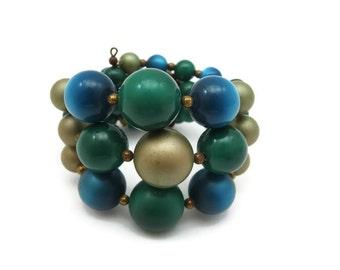 Moonglow Lucite Bracelet - Vintage Teal Gold Green Wire Wrap Adjustable