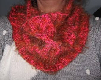 Azalea PInk Fluffy Hand Knitted Cowl