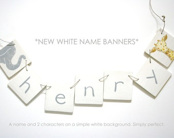 Modern White Name banner NEW with 8 letters Personalized Wooden Name Banner with 8 Letters, baby and kids art, alphabet, nursery