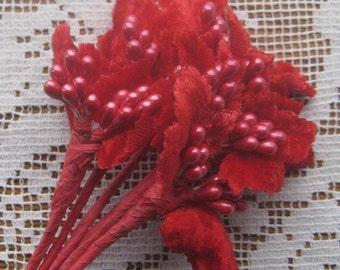 Vintage Millinery Velvet Leaf Spray Pearlized Berries Germany Circa 1950s VL 112 R