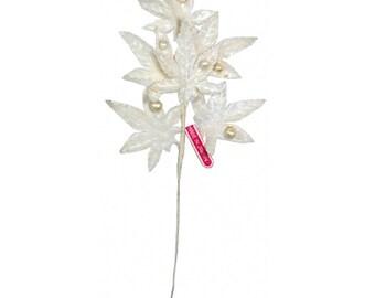 Vintage Millinery Leaves 1950s Japan Off White Velvet Rose Leaves With Pearl Berries VL 061 W