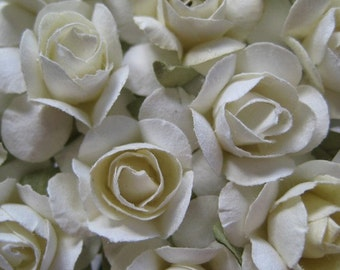 Paper Millinery Flowers 24 Petite Roses In Ivory