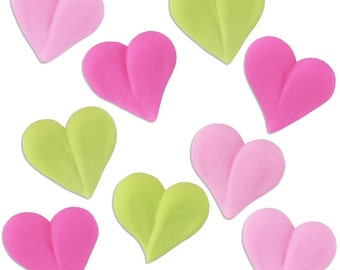 Bright Icing Hearts - edible royal icing hearts in fun bright colors for decorating cupcake, cakes, cookies, and cakepops