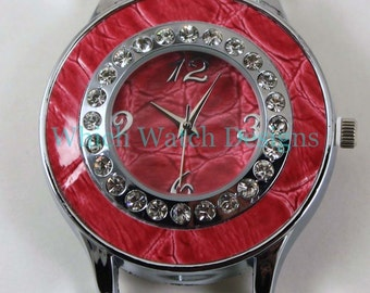 Snakeskin Round.. Large Red Snakeskin and Rhinestone Ribbon Watch Face, Interchangeable