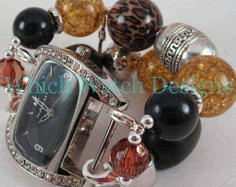 Sassy Safari.. Super Chunky Brown, Amber and Black Watch Band, Interchangeable