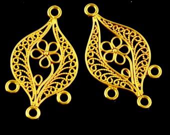 18k Solid Yellow Gold Earrings Filigree Chandeliers Findings PAIR