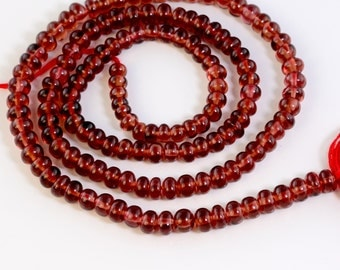 "3.5mm-4.1MM Pyrope Garnet Smooth Rondelle Beads 14.3"" Strand"