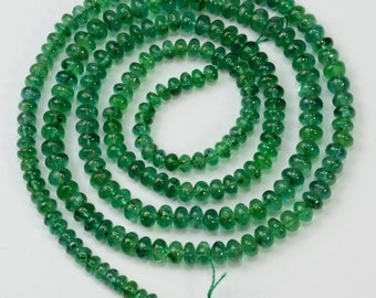 3mm-4mm Zambian EMERALD Smooth rondelle Beads 18.8 inch strand