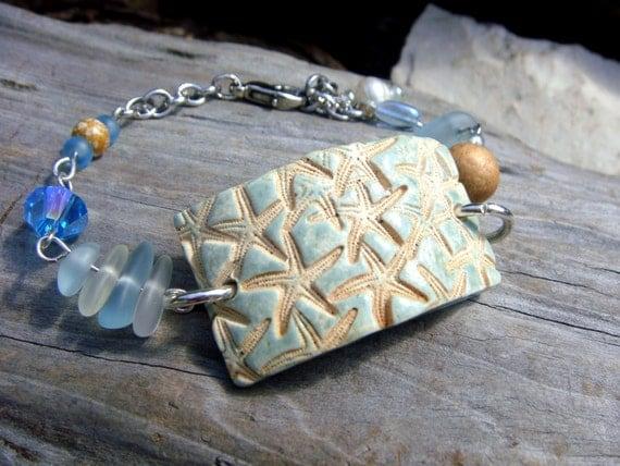 Ceramic starfish bracelet with cape cod seaglass beachglass for Cape cod fish bracelet