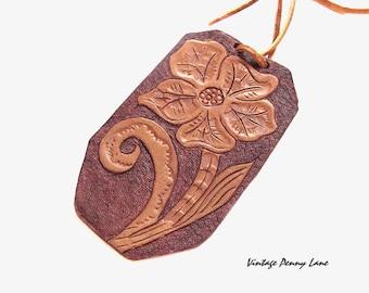 Handmade Vintage Tooled Leather Flower Pendant Necklace
