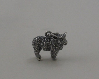 Sheep charm in sterling silver