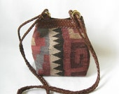 Vintage 80s Kilim and Leather Cross Body Ethnic Purse