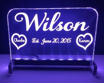 Edge lit acrylic Sign,Acrylic,Wedding Gift,Custom Made Sign,Table Sign,LED Wedding Sign