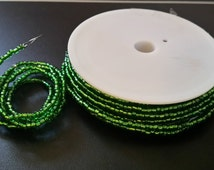 5 yards of beaded wire green glass seed beads