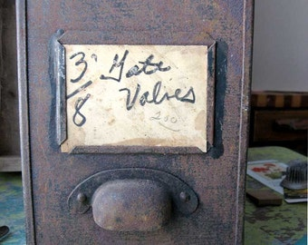 1940 Vintage Grunge Finish Metal Industrial Bin, Drawer for Garden, Tool Storage, Organizer Drawer, Old Surface