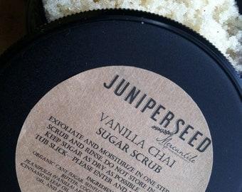 Vanilla Chai Sugar Scrub - eco-friendly post consumer resin jar - made with Organic Ingredients