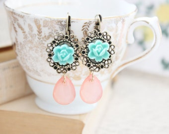 flower and crystal earrings.
