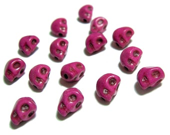8mm skull beads in Bright Pink 15pcs