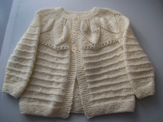 Handknitted White Cardigan with Leaf Design to fit 2 Year Old.