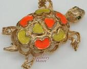 Florenza Orange & Yellow Enameled Turtle Brooch Tortoise Animal Figural Pin Vintage 1970s Designer Fashion Sea Ocean Beach Jewelry Gift Mom