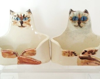Custom pottery Cat Lover  Business card Holder ceramic HM unique whimsical made to order send me your picture