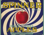 SPINNER Blue Apple Fruit Crate Label  -  psychedelic deco