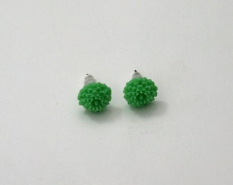 Green Flower Earrings, Flower Stud Earrings