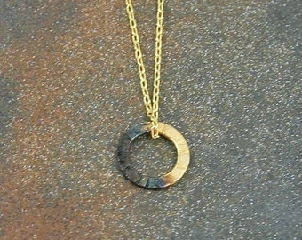 Tiny 24 Kt Gold + Rhodium Plated Circle Necklace Gold Circle Necklace Everyday Necklace Dainty Jewelry Tiny Necklace Modern Necklace