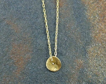 Tiny Gold Disk Necklace Tiny Circle Necklace Everyday Necklace Dainty Necklace Tiny Necklace Modern Necklace Simple Necklace