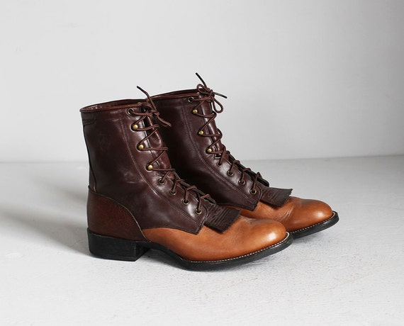 vintage Ariat two tone brown leather lace up kiltie roper