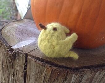 Mini Felted Yellow Bird