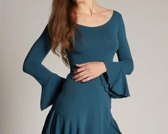 Idonae Fit and Flare Ruffle Sleeve Dress