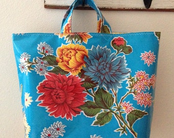 Beth's Blue Mum Oilcloth Grocery Tote Bag