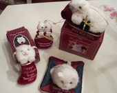 Rare Fancy Feast Kitty Cat Ornament no longer in production Lot of 4 White Persian kitty  some in boxes vintage FREE SHIPPING