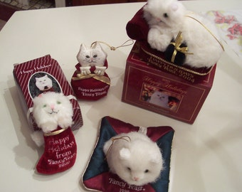 Rare Fancy Feast Kitty Cat Ornament no longer in production Lot of 4 White Persian kitty  some in boxes vintage. Price is for all 4 together