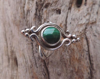 Vintage Malachite Sterling Silver Ring