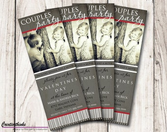 Couples Valentine's Day Dinner and a Movie Ticket Invitation - Digital ...