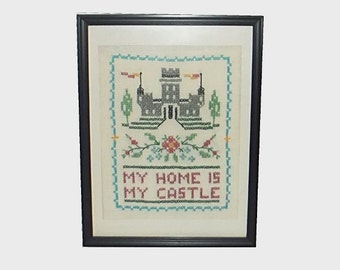 1980s wall hanging / vintage 80s home decor / My Home is My Castle Framed Needlepoint