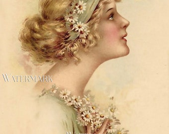 Young Woman Girl with Daisies in Hair Victorian Ephemera Romantic Postcard Vintage Scrapbooking Instant Digital Download